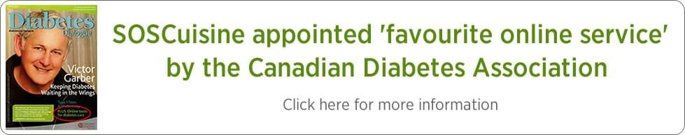 SOSCuisine makes it to favourite online service status by the Canadian Diabetes Association