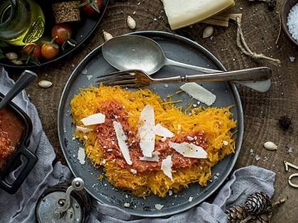 Zucca spaghetti al pomodoro