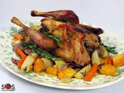 Roasted Guinea Hen with Herbs
