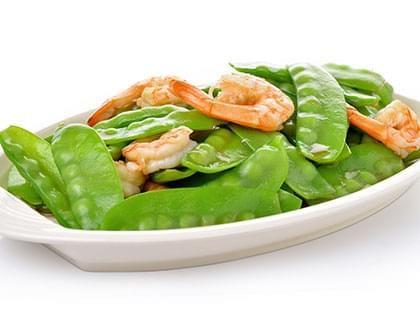 Sauté de crevettes et pois mange-tout