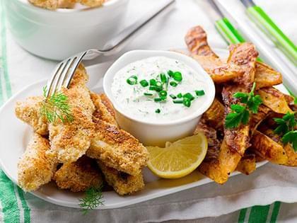Bâtonnets de poisson et patates douces