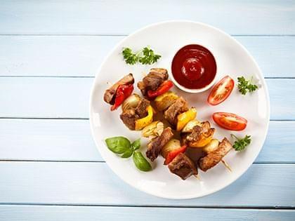 Beef and Vegetable Skewers in a Skillet