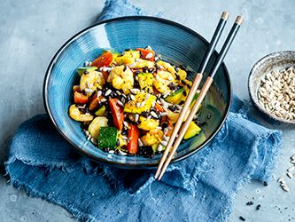 Stir-Fry Vegetables and Shrimp with Black Rice