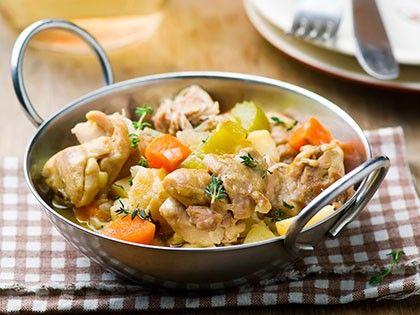 Fricassée de poulet et légumes racine