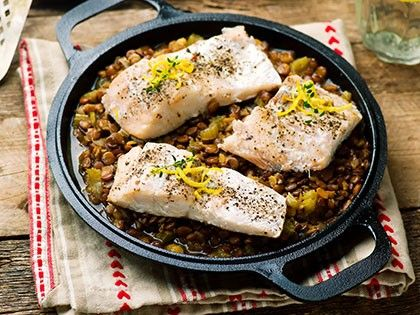 White Fish with Lentils