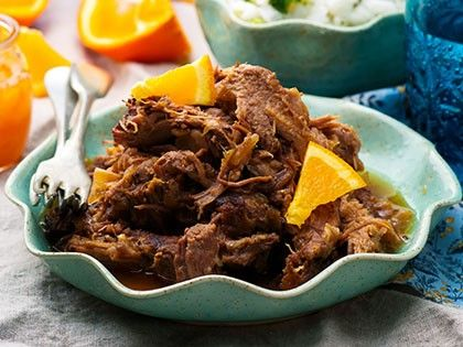 Slow Cooker Braised Pork with a Rum-Orange Sauce