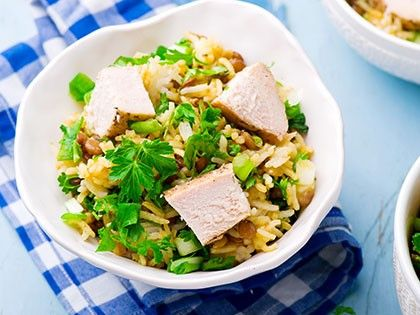 Rice, Chicken and Lentil Salad with Herbs