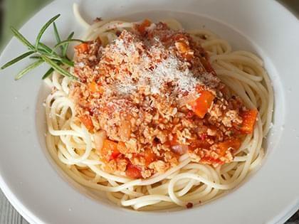 Pasta in Vegan Bolognese Sauce