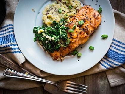 Salmon with Potato Patties and Peas