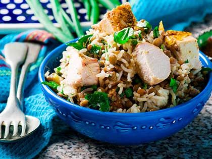 Rice, Lentil and Spicy Chicken Salad