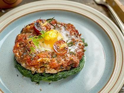 Portobello Egg on Spinach