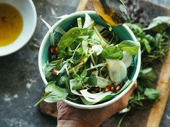 Salade de fenouil et mesclun à la grenade