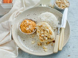 White fish with Almonds, Carrots and Rice