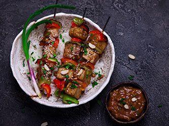 Bali-Style Tofu and Sweet Pepper Skewers