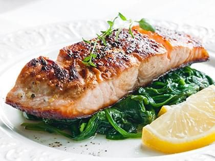 Balsamic Salmon and Spinach with Rice