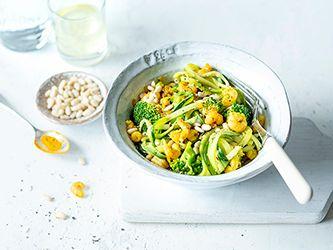 Nouilles de courgette au brocoli  et crevettes