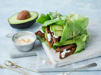 Tempeh and Avocado Lettuce Wrap