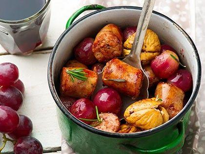 Saucisses de poulet aux raisins et figues
