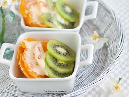 Kiwis et oranges au sabayon gratiné