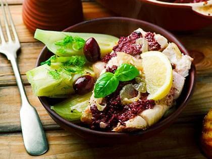 Nasello alle olive e al finocchio