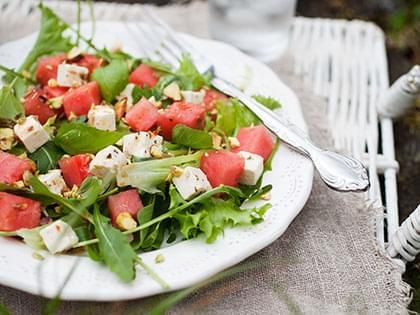 Watermelon and Arugula Salad with Goat-Cheese