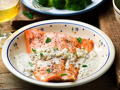Trout Fillets with a Lemon-Marjoram Cream Sauce
