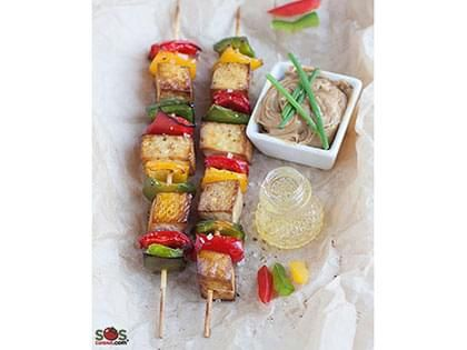 Tofu and Sweet Pepper Skewers with Peanut Sauce