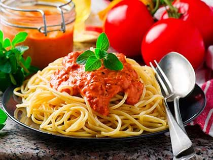 Spaghettini with Rosy-red Sauce