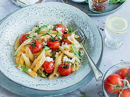 Penne with Arugula, Tomato, and Feta Cheese