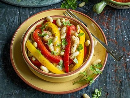 Warm Salad with Green Flageolet Beans and Peppers
