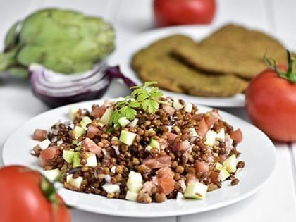 Warm Lentil and Tomato Salad