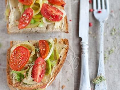 Leek and Tomato Crostini with Brie