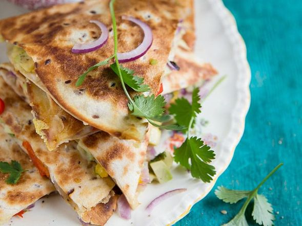 Quesadilla with Peppers and Avocado