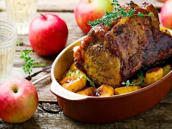 Roasted Pork Rack with Apples