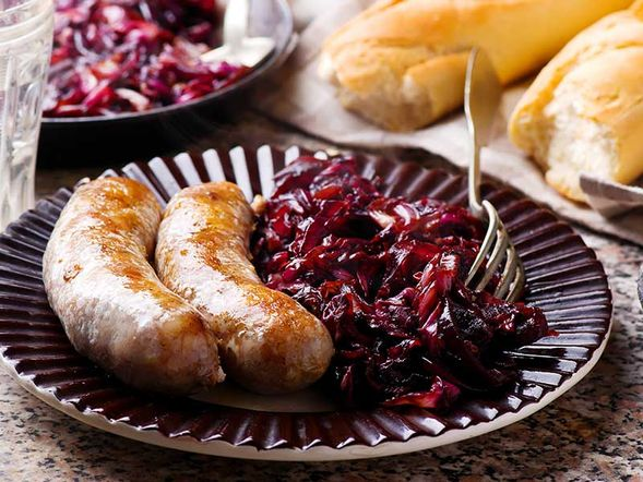 Sausage with Caramelized Radicchio and Onions