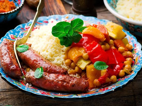 Couscous and Merguez Sausages