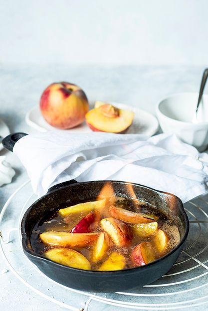 Flamed peaches