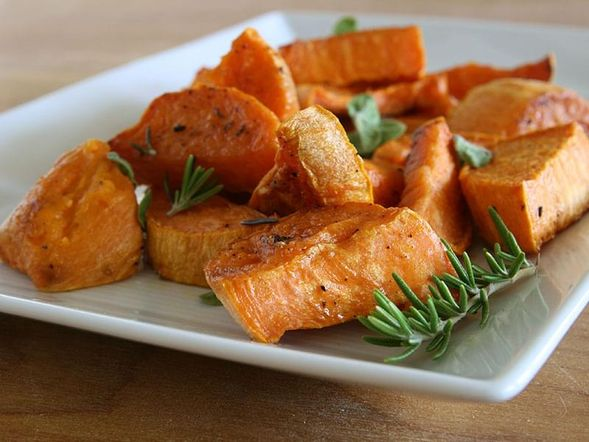 Baked Sweet Potatoes with Rosemary