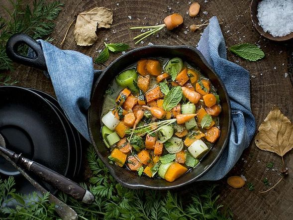 Carrots and Leeks with Fresh Mint