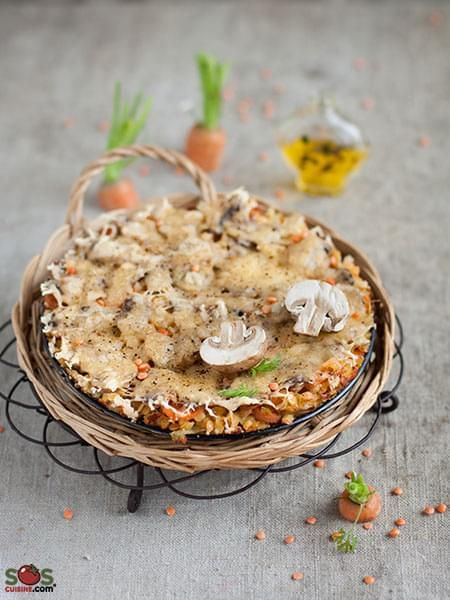 Cheese-topped Mushrooms and Lentils