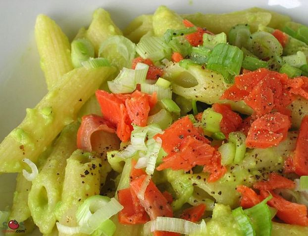 Penne with Avocado and Smoked Salmon