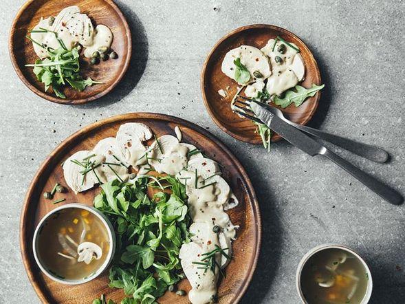 Blanc de poulet, sauce au thon