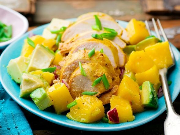 Avocado, Mango, and Grilled Chicken Salad