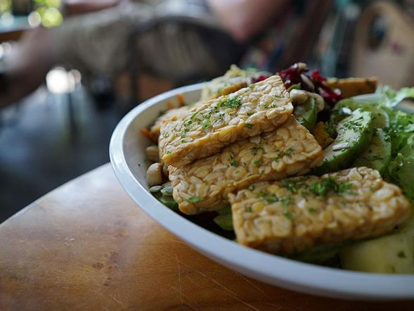Sautéed Tempeh with Mixed Greens