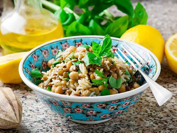 Rice, Lentil and Chickpea Salad
