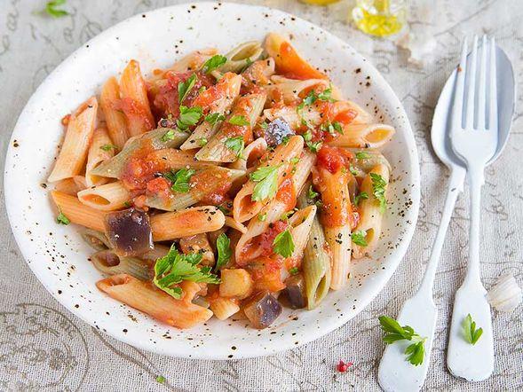 Legume Pasta with Eggplant Sauce