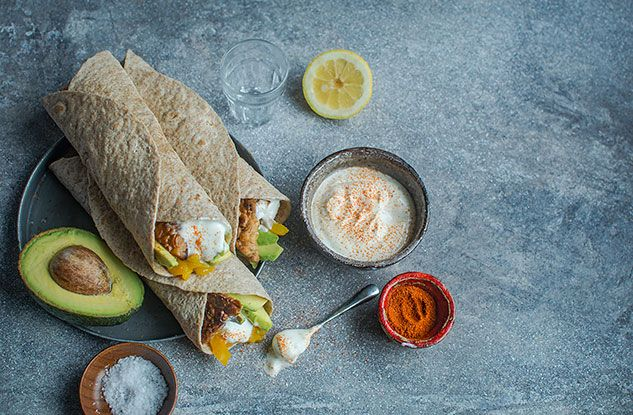 Tempeh, Peppers and Avocado Wrap