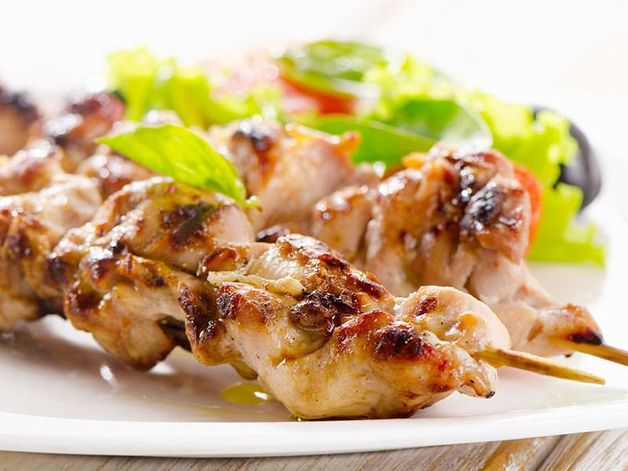 Lemon Grass Chicken Skewers with Baked Vegetables