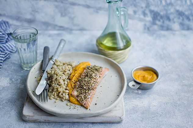 Salmon with Herbs and Squash Purée