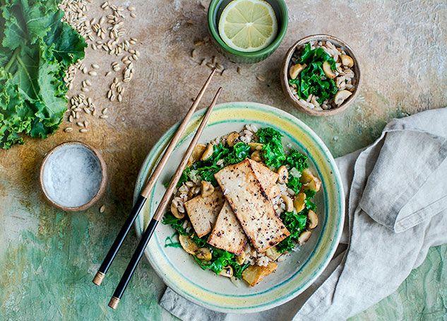 Tofu, Sunchoke and Kale Sauté